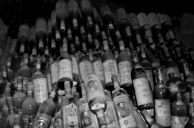 Wine collection, Cellar of a restaurant in Chiusi, Italy