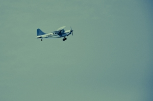 A small airplane flying on Ferrara - Italy