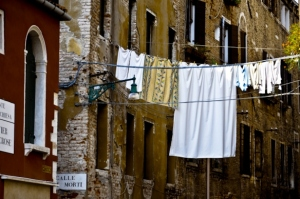 Hanging blankets in Venice, Italy