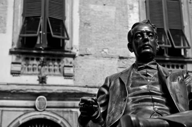 Bronze of Puccini in Lucca, Italy