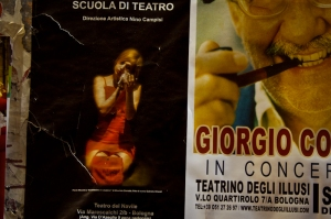 Posters in town, Bologna Italy