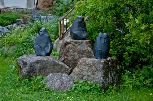 Stone scultures in a garden by the Bayerischer National Park, Germany