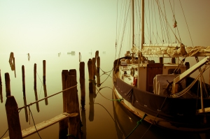 Fog and sun in the Venetian lagoon - Italy