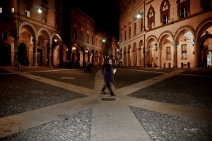 Bologna by night, practicing long exposures in Piazza St. Stefano. Italy
