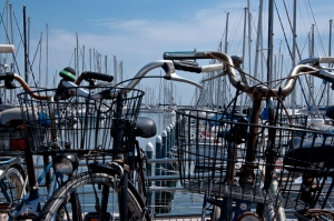 1 pm: bicycles on the dock - Marina Romea dock -Italy