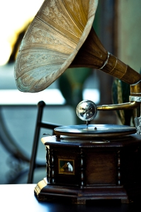 Gramophone playing in a narrow street, Castiglione del Lago, Italy