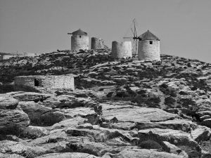 Amorgos, Greece - Abandoned windmill next to the Chora