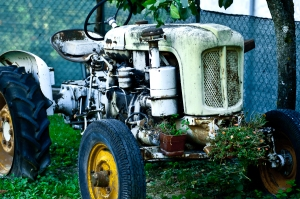 Old tractor in a garden, Italy