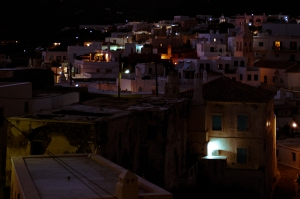 Chora by night, Kythira island, Greece