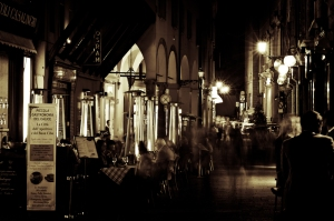 Via Clavature, Bologna by night - Italy