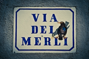 Hand painted ceramic road sign - Italy