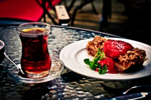 Black tea, apple pie with strawberry sauce, Istanbul - Turkey