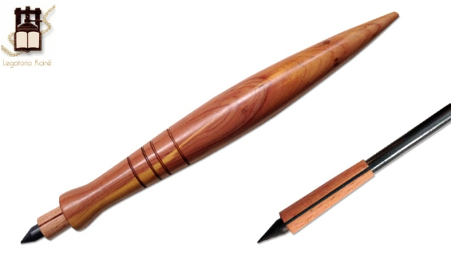 Hand made wooden lead pencil with conic holder, red juniper.
